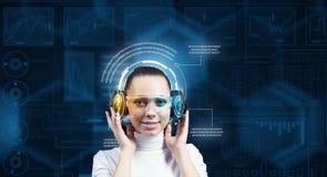 Girl in virtual designed room Stock Image