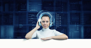 Girl in virtual designed room Stock Photography