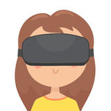 Girl in a virtual reality glasses. Stock Images