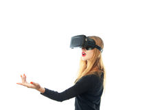 Girl in virtual reality glasses Stock Photo