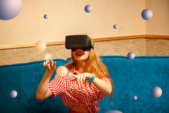 Girl in virtual reality glasses Stock Photography