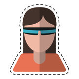 Girl with virtual reality goggles smart cut line. Vector illustration eps 10 Stock Photography