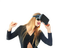Girl in virtual reality helmet Royalty Free Stock Image