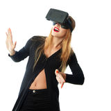 Girl in virtual reality helmet Royalty Free Stock Photos