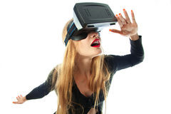 Girl in virtual reality helmet Stock Images