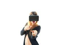 Girl in virtual reality helmet Royalty Free Stock Photo