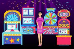 Girl visiting casino place banner vector illustration. Win jackpot in game slot machine. Casino buildings, gaming. Machine, fortune wheel and game roulette vector illustration