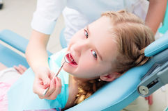 Girl visiting dentists, visit the dentist Royalty Free Stock Photos