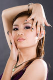 Girl with vogue pose. Close up of young woman vogue pose with painted fingernails Royalty Free Stock Photos