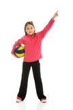 Girl with voleyball ball. Happy girl with voleyball ball stock image
