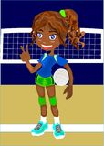 Girl with volley ball Stock Images