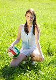 Girl with volleyball Royalty Free Stock Image