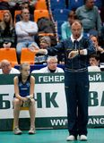 Girl volleyball game, arbitrator. CEV Indesit Champions League 2009-2010 Royalty Free Stock Photo
