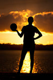 Girl Volleyball Sunset Silhouette Pose Stock Photography