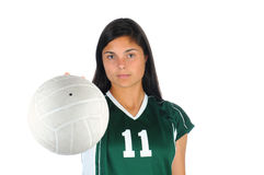 Girl with Volleyball Under Her Arm Royalty Free Stock Images