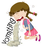 Girl vomiting and feeling sick Stock Image