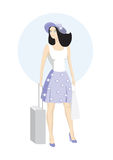 Girl voyager. Vector summer girl with baggage Stock Images