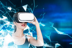 Girl in VR glasses and tank top, lines Royalty Free Stock Photos