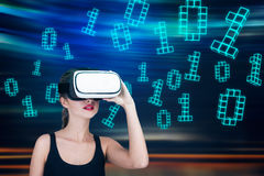 Girl, vr glasses with zeros and ones, psychedelic Stock Photos