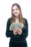 Girl with wad of money in her hands. Portrait of happy young girl with wad of money in her hands isolated on white Stock Photo