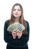 Girl with wad of money in her hands. Portrait of happy young girl with wad of money in her hands isolated on white Royalty Free Stock Photo