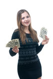 Girl with wad of money in her hands. Portrait of happy young girl with wad of money in her hands isolated on white Stock Photography