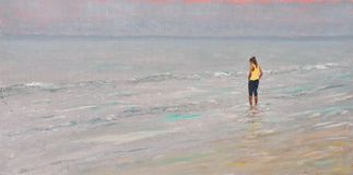 Girl wading in shallows at the seaside stock illustration