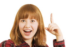 Girl wagging her index finger Royalty Free Stock Photos