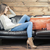 Girl waiting airplane in VIP lounge rom, airport Royalty Free Stock Photo