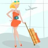 Girl waiting at airport Stock Photo