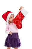 Girl waiting Christmas present isolated white Royalty Free Stock Photos