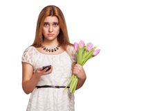 Girl waiting for a guy on Valentine's Day Stock Photo