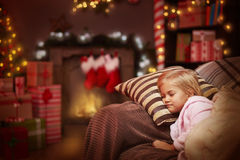 Girl waiting for Santa Stock Photography