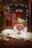Girl waiting for Santa Royalty Free Stock Image