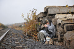 Girl waiting on train Stock Image