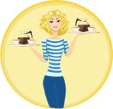 Girl Waitress Carrying a Tray with Cups of Coffee Stock Image