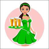 Beautiful girl waitress with the glasses of beer in a green dress on irish St. Patrick`s day on blue background  cool illus Stock Photography