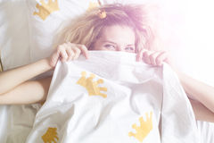 Girl wake up Stock Photo