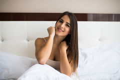 Girl wake up in the morning at home. Young beautiful girl wake up in the morning at home stock images