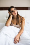 Girl wake up in the morning at home. Young beautiful girl wake up in the morning at home stock photography