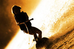 Girl Wakeboarding Silhouette Royalty Free Stock Images
