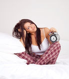 Girl wakes up Stock Photos