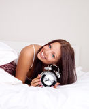 Girl wakes up Stock Images