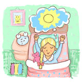 Girl wakes up before the alarm clock. Illustration of a hand-drawn girl wakes up before the alarm clock Stock Photos