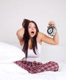 Girl Wakes Up Late Royalty Free Stock Image