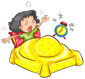 A girl waking up with an alarm. A drawing of a girl waking up with an alarm on a white background Stock Photo