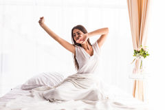 A Girl waking up in The Morning Royalty Free Stock Photos