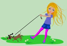 Girl  on a walk Royalty Free Stock Photo