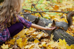 Girl on walk in autumn park Royalty Free Stock Image