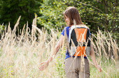 Girl on walk in the country Royalty Free Stock Photography